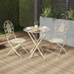 Folding Bistro Set ? 3PC Table and Chairs with Lattice & Leaf Design ? Outdoor Furniture for Garden, Patio, Porch by Lavish Home (Antique White)