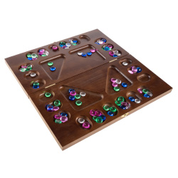 Mancala Board Game- 4 Player, Square Root Strategy Game, Folds for Storage or Travel and Includes 96 Plastic Stones for Kids & Adults by Hey! Play!