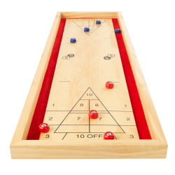 Tabletop Shuffleboard Game - Portable Indoor or Outdoor Compact Desktop Pinewood Competition Board Game for Kids and Adults by Hey! Play!