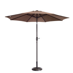 Villacera 9' Outdoor Patio Umbrella with 8 Ribs, Aluminum Pole and Auto Tilt, Fade Resistant Market Umbrella, Brown
