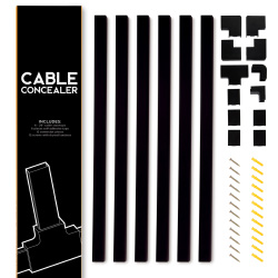 Cable Concealer On-Wall Cord Cover 6 Raceway Kit - Cable Management System to Hide Cables, Cords or Wires for TVs and Computers - Black