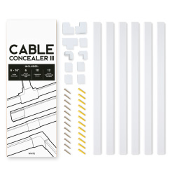 Cable Concealer III On-Wall Cord Cover Raceway Kit - Cable Management System for Cables, Cords, or Wires Hanging From a Wall Mounted TV�by SimpleCord