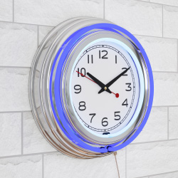 Neon Wall Clock- 14? Round, Double Light Ring, Battery Operated, Analog Quartz Timepiece-Retro Décor for Bar, Garage & Game Room by Lavish Home (Blue)