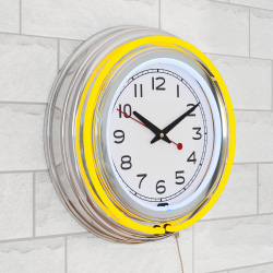 Neon Wall Clock- 14? Round, Double Light Ring, Dual Power, Analog Quartz Timepiece- Retro Décor for Bar, Garage & Game Room by Lavish Home (Yellow)