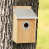 Pine Bird House with Tin Roof- Outdoor, Weather Resistant Classic Wooden Nesting Box Birdhouse Attracts Bluebirds, Finch, Wren, More by Pure Garden