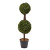 Artificial Podocarpus-36? Double Ball Style Faux Plant in Sturdy Pot-Realistic Indoor or Outdoor Potted Shrub-Home Decor by Pure Garden