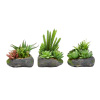 Artificial Succulent Plant Arrangements in Faux Stone Pots, 3 Piece Set in Assorted Sizes, Lifelike Greenery Home Decoration by Pure Garden