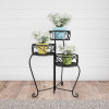 Plant Stand ? 3-Tier Indoor or Outdoor Folding Wrought Iron Inspired Metal Home and Garden Display with Laser Cut Shelves by Pure Garden (Black)