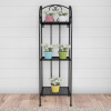 Plant Stand ? 3-Tier Vertical Shelf Indoor or Outdoor Folding Wrought Iron Metal Home and Garden Display with Staggered Shelves by Pure Garden (Black)