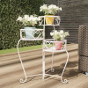 Plant Stand ? 3-Tier Indoor or Outdoor Folding Wrought Iron Metal Home and Garden Display with Staggered Shelves by Pure Garden (Antique White)