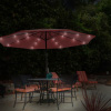 Patio Umbrella ? 10 Foot Deck Shade with Solar Powered LED Lights, Crank Tilt and Fade Resistant, UV Protection Canopy by Pure Garden (Crimson Red)