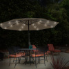 Patio Umbrella ? 10 Foot Deck Shade with Solar Powered LED Lights, Crank Tilt and Fade Resistant, UV Protection Canopy by Pure Garden (Sand)