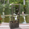 7-Tier Water Fountain ? Modern Decorative Concrete and Metal Electric Outdoor Industrial Cascading Waterfall Feature by Pure Garden