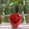 Jar Water Fountain ? Indoor or Outdoor Ceramic-Look Glazed Pot Resin Water Feature with Electric Pump and LED Lights by Pure Garden (Imperial Red)