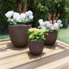 Set of 3 Fiber Clay Planters ? Antique Brown Weather Resistant Modern Round Outdoor Potting and Replanting Pots with Drainage Holes by Pure Garden
