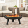 27.5? Outdoor Fire Pit- Raised Steel Bowl for Above Ground Wood Burning- Side Handles & Storage Cover- for Patios, Backyards & Camping by Pure Garden