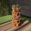Stacking Planter Tower- Set of 5- Space Saving Flower Pots & Saucer-Indoor/Outdoor Vertical Herb & Vegetable Stand by Pure Garden (Terracotta Colored)