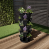 Stacking Planter Tower- Set of 5- Space Saving Flower Pots & Saucer- Five Tier Indoor/Outdoor Vertical Herb & Vegetable Stand by Pure Garden (Black)