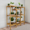 Multi-Level Plant Stand-Freestanding 9 Shelf Bamboo Storage Rack-Indoor/Outdoor Shelving Unit for Flowerpots, Planters, Shoes & Display by Pure Garden