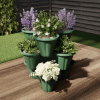 Stacking Planter Tower- 3-Tier Space Saving Flower Pots- Set of 3 Indoor/Outdoor Vertical Herb & Vegetable Planter by Pure Garden (Hunter Green)