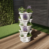 Stacking Planter Tower- Set of 5- Space Saving Flower Pots & Saucer- Five Tier Indoor/Outdoor Vertical Herb & Vegetable Stand by Pure Garden (White)