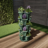 Stacking Planter Tower-Set of 5-Space Saving Flower Pots & Saucer- 5-Tier Indoor/Outdoor Vertical Herb & Vegetable Stand by Pure Garden (Hunter Green)