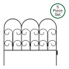 Metal Garden Fencing- Set of 5 Panels for Iris Decorative Edging Flower Beds & Landscaping- Interlocking, Flexible Design in Black by Pure Garden