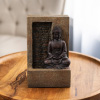 Tabletop Water Fountain- Sitting Buddha Statue by a Stone Wall Waterfall, Electric Pump & Soothing Sounds for Office and Home Decor by Pure Garden