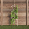 Garden Trellis- For Climbing Plants- Decorative Flower Stem Metal Panel-For Vines, Roses, Vegetable Plants & Flowers by Pure Garden (Antique White)