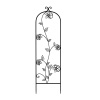 Garden Trellis- For Climbing Plants- Decorative Curving Flower Stem Metal Panel -For Vines, Roses, Vegetable Plants & Flowers by Pure Garden (Black)