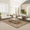 Trellis Vine Medallion Area Rug- 5x7 Indoor Outdoor Brown & Cream Carpet -Textured Back- Patio, Deck, Lanai & Poolside Floor Covering by Lavish Home