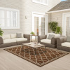 Trellis Area Rug- 5x7 Indoor Outdoor Brown & Beige Throw Carpet Moroccan Lattice- Patio, Deck, Lanai & Poolside Floor Covering by Lavish Home