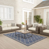Trellis Area Rug- 5x7 Indoor Outdoor Denim Blue & Beige Throw Carpet Moroccan Lattice- Patio, Deck, Lanai & Poolside Floor Covering by Lavish Home