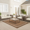 Brown Border Area Rug- 5x7 Indoor Outdoor Carpet-Textured Backing- Patio, Deck, Lanai & Poolside Floor Covering by Lavish Home