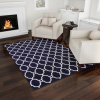 Lattice Area Rug- 5x7 Plush Throw Carpet- Mid-Century Modern Design-Textured Backing- Navy & White Floor Covering for Home or Office by Lavish Home