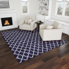 Lattice Area Rug- 8X10 Plush Carpet- Mid-Century Modern Design-Moroccan Trellis- Navy Blue & White Floor Covering for Home or Office by Lavish Home