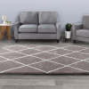 Diamond Shag Area Rug- Plush Gray & Ivory Pattern Carpet- Modern Design- Floor Covering for Home, Living Room & Office by Lavish Home (5?3?x7?7?)