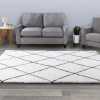 Diamond Shag Area Rug- Plush Ivory & Gray Pattern Carpet- Modern Design- Floor Covering for Home, Living Room & Office by Lavish Home (8?x10?)