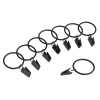 Curtain Rod Clip Rings- 8 Piece Set- For up to 1 inch Rod, 1.5 inch Loop for Hanging Window Curtain, Panel, Drapes, Black Metal by Lavish Home