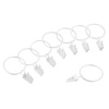 Curtain Rod Clip Rings- 8 Piece Set- For up to 1 inch Rod, 1.5 inch Loop for Hanging Window Curtain, Panel, Drapes, White Metal by Lavish Home