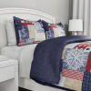 3-Piece Quilt Set ? Nautical Americana Patchwork Print All-Season Soft Microfiber Bedspread with Shams - Bedding by LHC (Full/Queen)