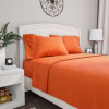 Brushed Microfiber Sheet Set- 3 Piece Bed Linens-Fitted & Flat Sheets, Plus A Pillowcase-Wrinkle, Stain & Fade Resistant by Lavish Home (Twin, Orange)