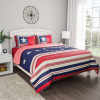 Quilt Set ? Hypoallergenic Glory Bound Microfiber Patriotic Americana Flag Design  Blanket with Shams by Yorkshire Home (Full/Queen)