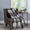Acrylic Throw ? Oversized Vintage Look Woven Acrylic Faux Cashmere-Feel Plaid Throw ? Breathable and Machine Washable by LHC (Phantom Plaid)