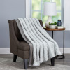Faux Fur Throw Blanket-Luxurious, Soft, Hypoallergenic Faux Rabbit Fur Blanket with Faux Mink Back for Couch, Bed, D�cor- 60?x70? By LHC (Cloud Grey)