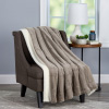 Faux Fur Jacquard Throw Blanket-Luxurious, Soft, Hypoallergenic Faux Rabbit Fur Blanket with Sherpa Back for Couch, Bed,  60?x 70? By LHC (Coffee)