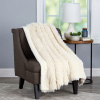 Faux Fur Throw Blanket-Luxurious, Soft Hypoallergenic Long Pile Faux Rabbit Fur Blanket with Sherpa Back for Couch, Bed, Decor, 60?x70? By LHC (White)