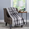 Plaid Faux Fur Throw Blanket- Luxurious, Soft, Hypoallergenic Plaid Printed Flannel Blanket with Solid Faux Fur Rabbit Back, 60?x70? By LHC (Grey)