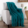 Chenille Throw Blanket- For Couch, Home D�cor, Bed, Sofa & Chair-Oversized 60? x 70?- Lightweight, 5? Fringe, Ultra-Soft & Shiny in Lagoon Teal by LHC