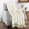 Chenille Throw Blanket- For Couch, Home D�cor, Bed, Sofa & Chair-Oversized 60? x 70?- Lightweight, 5? Fringe, Ultra-Soft & Shiny in Ivory by LHC